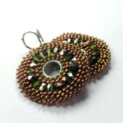 plecione,koronkowe,medaliony,złote,kolczyki - Kolczyki - Biżuteria