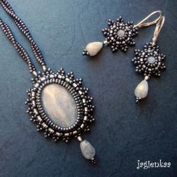 elegancki,romantyczny,retro,haft koralikowy - Komplety - Biżuteria