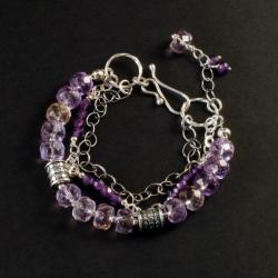 srebrna bransoletka z ametrynem - Bransoletki - Biżuteria