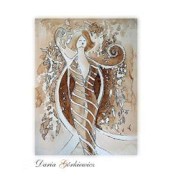 anioł,grafika,kobieta,druk,na ścianę,wnętrze - Ilustracje, rysunki, fotografia - Wyposażenie wnętrz