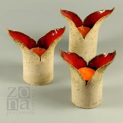 świecznik,ceramika,komplet,czerwony - Ceramika i szkło - Wyposażenie wnętrz