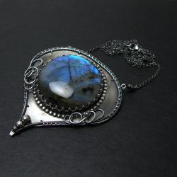 wrapping,srebro,labradoryt,misterny,niebieski - Naszyjniki - Biżuteria