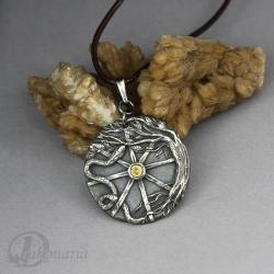 symbol,koło,wąż,drzewo,żółty,tajemniczy,las - Wisiory - Biżuteria