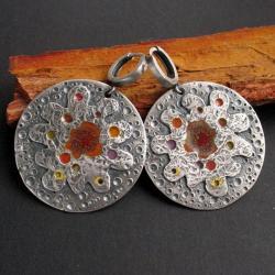 emalia jubilerska,kolczyki,koła,fiann - Kolczyki - Biżuteria