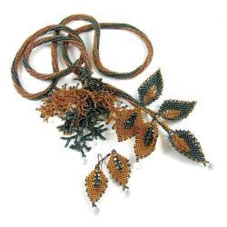 beading,koraliki,jesień,liście - Komplety - Biżuteria