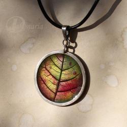 geometryczny,liść,jesienny,kolorowy,czerwony - Wisiory - Biżuteria