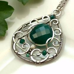 naszyjnik,wire-wrapping,z onyksem zielonym - Naszyjniki - Biżuteria