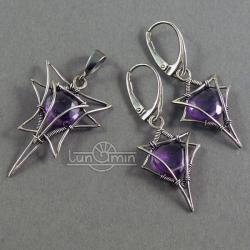 wire wrapping,ametyst,unikat - Komplety - Biżuteria