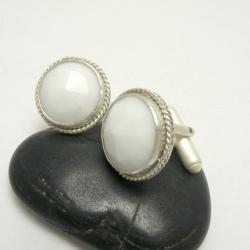 spinki do mankietów,męskie,białe,srebro, - Dla mężczyzn - Biżuteria