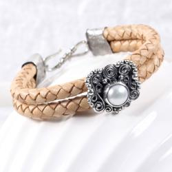 Oryginalna,oksydowana bransoletka z perłą - Bransoletki - Biżuteria