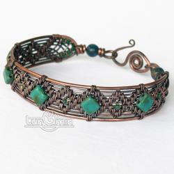 wire wrapping,miedź,bransoleta,unikat - Bransoletki - Biżuteria