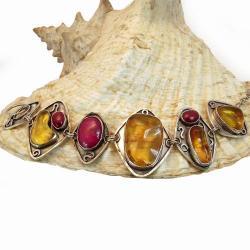 efektowna bransoleta z bursztynami i rubinami - Bransoletki - Biżuteria