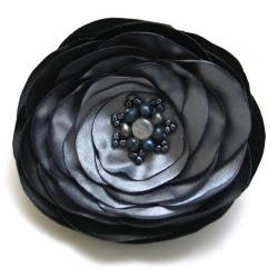 broszka,elegancka,srebrzysta,szara,kwiat - Broszki - Biżuteria