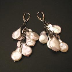 kolczyki,perły,perłowe,białe,oksydowane - Kolczyki - Biżuteria