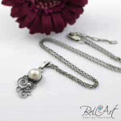 perła,romantyczny,naszyjnk,filigranowy - Naszyjniki - Biżuteria