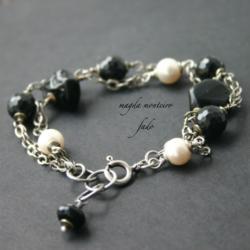 srebro,bransoletka,czarna,turmalin,tektyt,perła, - Bransoletki - Biżuteria