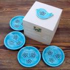 Ceramika i szkło herbaciane,motyw ludowy,fusetki