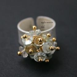 pierścionek,srebro,fado,akwamaryn - Pierścionki - Biżuteria