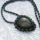 Wisiory haft koralikowy,leśny,liść,labradoryt,hematyt