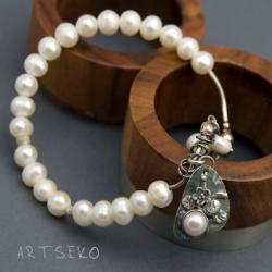 bransoletka z perłami srebrna,art clay - Bransoletki - Biżuteria