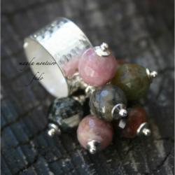 srebro,zielone,fado,różowe,pierścionek,turmalin - Pierścionki - Biżuteria