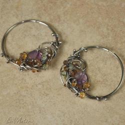 srebro,wire-wrapping,kolczyki,koła,barwne - Kolczyki - Biżuteria