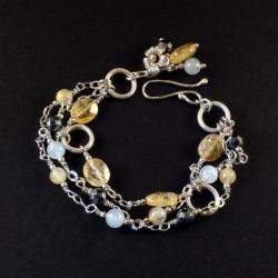 delikatna bransoletka ze srebra i minarłów - Bransoletki - Biżuteria