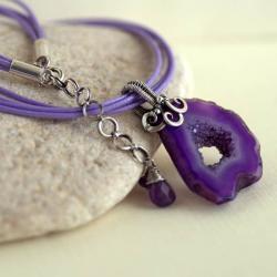 naszyjnik,wire-wrapping,z agatem - Naszyjniki - Biżuteria
