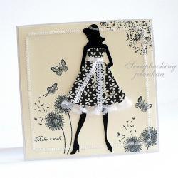 kobieta,sukienka,koronka,kwiatki - Kartki okolicznościowe - Akcesoria