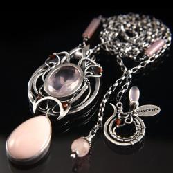 ekskluzywny,elegancki,bogaty,różowy,opal - Naszyjniki - Biżuteria