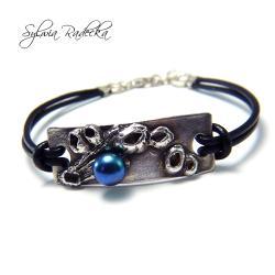 na rękę,oksydowana,perła - Bransoletki - Biżuteria