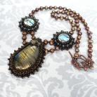 Naszyjniki haft koralikowy,labradoryty,paua,perły,keshi