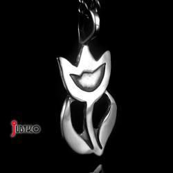 srebrny,mały,tulipan,kwiat,wisiorek,dziecięcy - Wisiory - Biżuteria