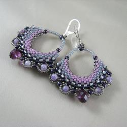 Provence - plecione kolczyki ze Swarovskim - Kolczyki - Biżuteria
