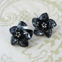 Darl Night Flowers - plecione kolczyki Swarovski - Kolczyki - Biżuteria
