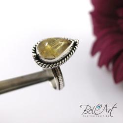 pierścionek,kwarc z rutylem,wyrazisty - Pierścionki - Biżuteria