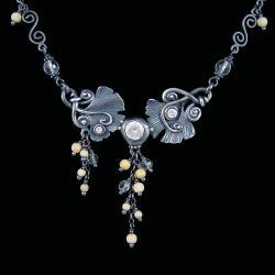 ginko,srebro oksydowane,baśniowy naszyjnik - Naszyjniki - Biżuteria