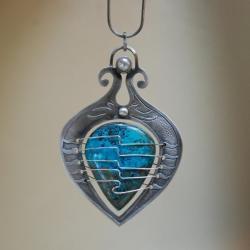 azuryt,nitza,wahadełko,autorska,niebieski, - Naszyjniki - Biżuteria