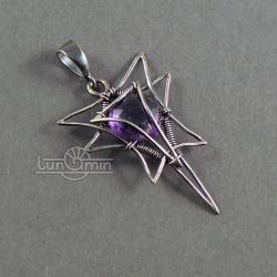 wire wrapping,wisior,unikat,fioletowy - Wisiory - Biżuteria