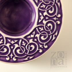 lampion,świecznik,ceramika,fiolet - Ceramika i szkło - Wyposażenie wnętrz