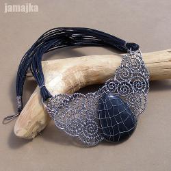 minerał,pleciony,oksydowany,wire wrapping - Naszyjniki - Biżuteria