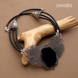 ornament,pleciony,ażur,agat,rzemień,oksyda - Naszyjniki - Biżuteria