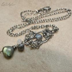 wire-wrapping,misterny,naszyjnik,labradoryt, - Naszyjniki - Biżuteria