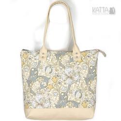 kwiaty,ornamenty,jasna torba,płótno bawełniane - Na ramię - Torebki