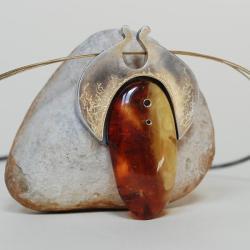 nitza,bursztyn,złoty,autorska - Naszyjniki - Biżuteria