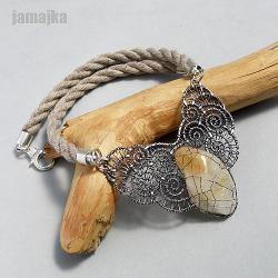 cytryn,ażur,oksyda,pleciony,kuty,sznurek - Naszyjniki - Biżuteria