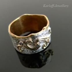 ekskluzywny pierścionek z diamentami,srebrnozłoty - Pierścionki - Biżuteria