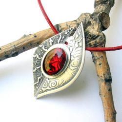 srebro,czerwień,paua,fiann - Naszyjniki - Biżuteria