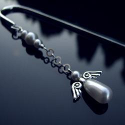 zakładka do książki z perłowym aniołem na święta - Zakładki do książek - Akcesoria