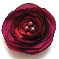 broszka,romantyczna,satyna,perły,kwiat - Broszki - Biżuteria